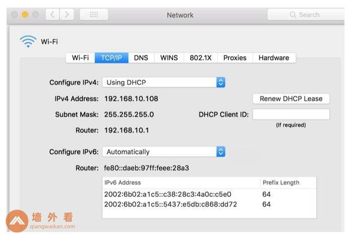 在Mac上配置IPv4