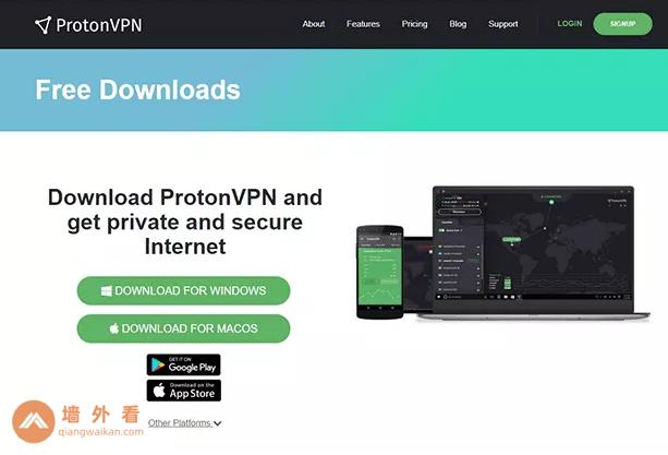 Proton VPN网站下载页面