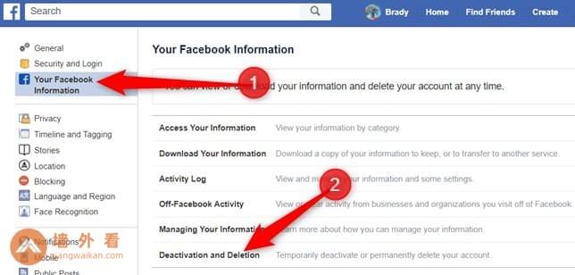 Facebook停用和删除