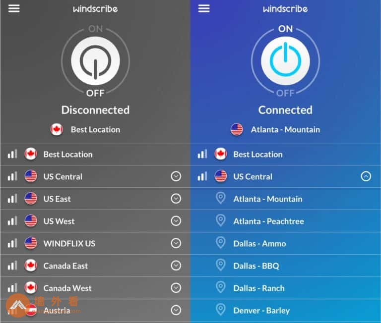 Windscribe手机应用程序主屏幕已连接和断开连接